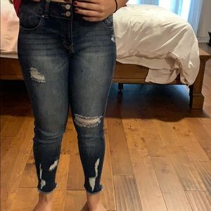 Dark wash high waisted ripped jeans